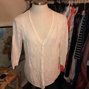 Eddie Bauer cream linen cotton cardigan large lace